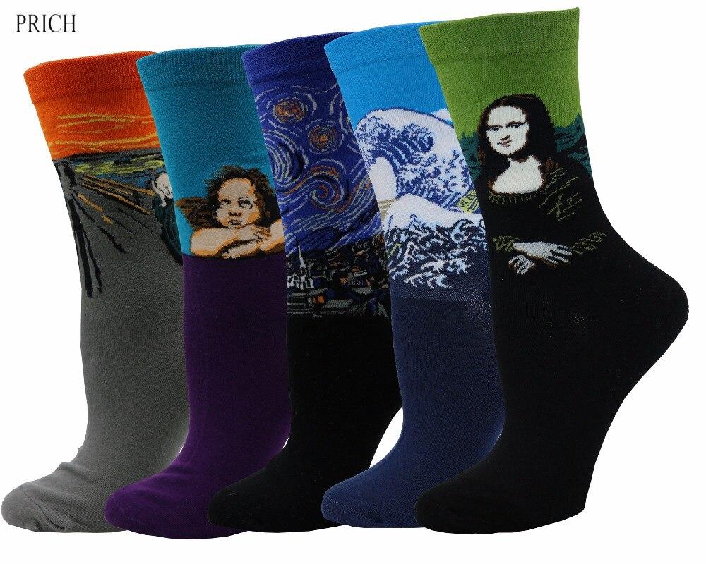PRICH décontracté 5 paires confortable coton Art à motifs chaussettes d'équipage PR0001 #