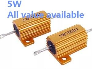1PCS 5W 100R 120R 180R 200R 300R 400R aluminium Power Metal Shell Case Draadgewonden Weerstand 100 120 180 200 300 400 ohm 5W 5%