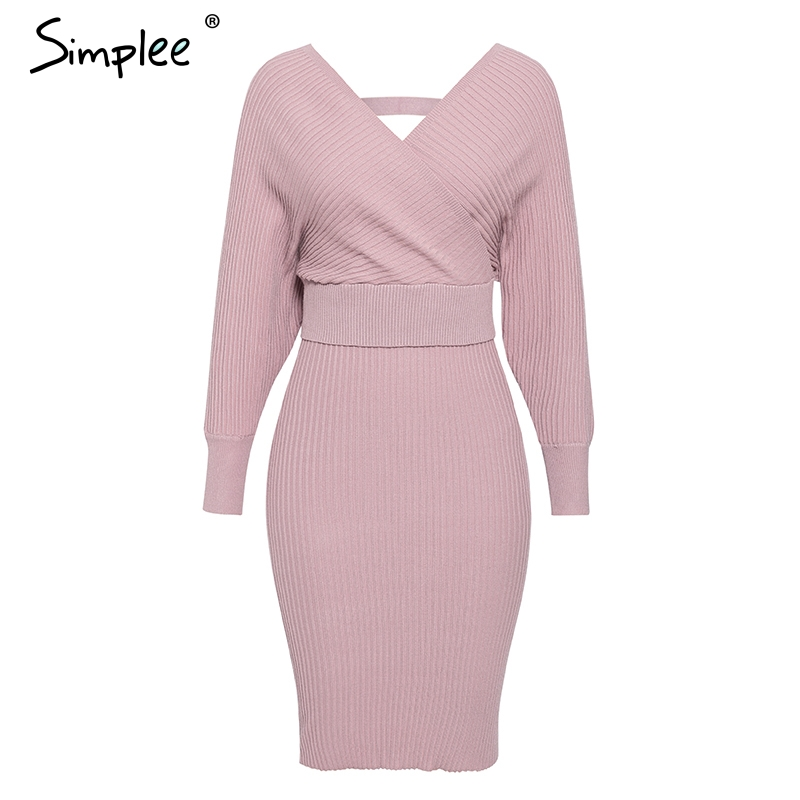 Simplee Sexy v-neck women knitted skirt suits Autumn winter batwing sleeve ladies suit Elegant party female sweater pink dress 10