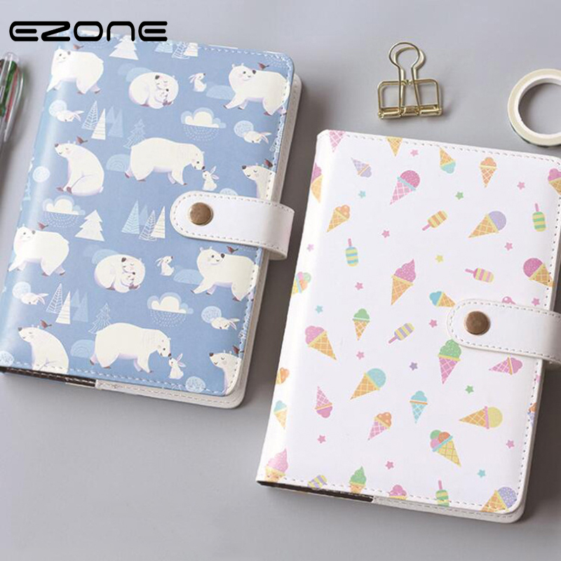 цена EZONE Cute Animals Notebook Kawaii Polar Bear Ice Cream Printed Note Book Traveler Journey Diary Notepad School Office Supply