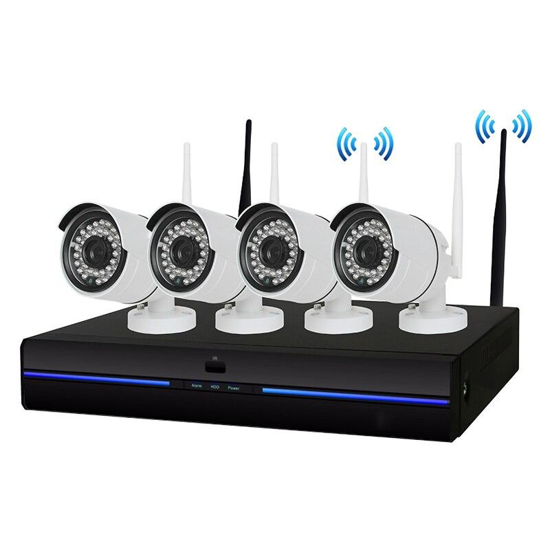 4CH CCTV System Wireless 1080P NVR 4PCS 2.0MP IR Outdoor indoor P2P Wifi IP CCTV Security Camera System Surveillance NVR Kit