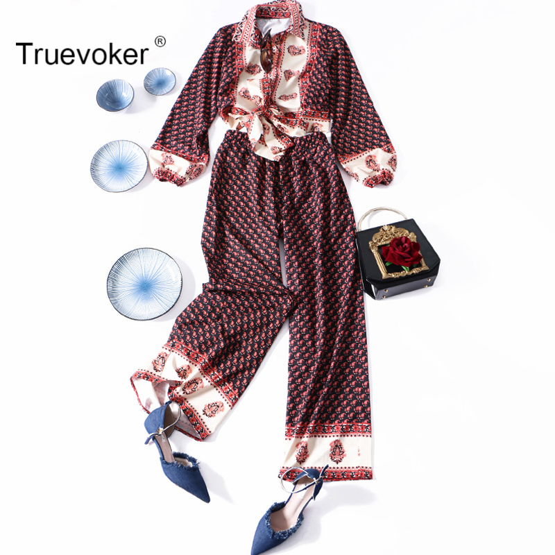 Truevoker Spring Designer Set Suit Womens Long Sleeve Turn Down Collar Ethnic Bohemian Printed Blouse+ Wide Leg Long Pant Suit