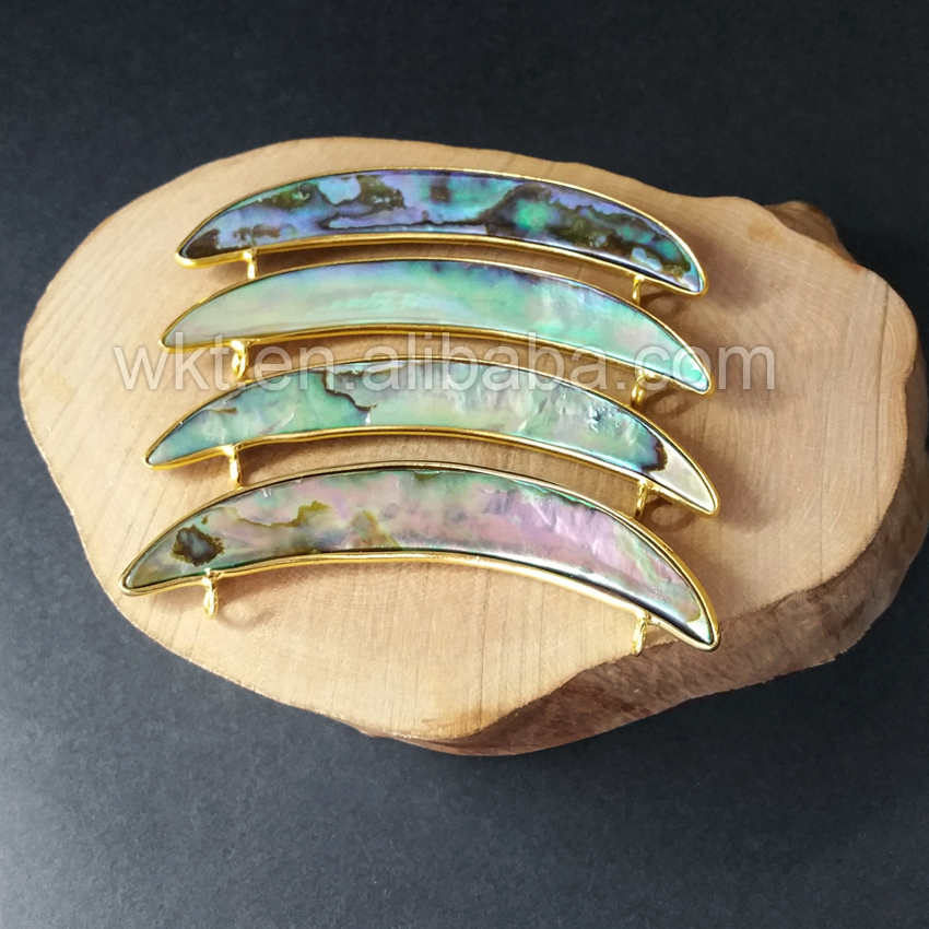 WT C137 Wholesale Natural Crescent Abalone Shell Connector Curved Surface Double Bails Gold Color Abalone Gem