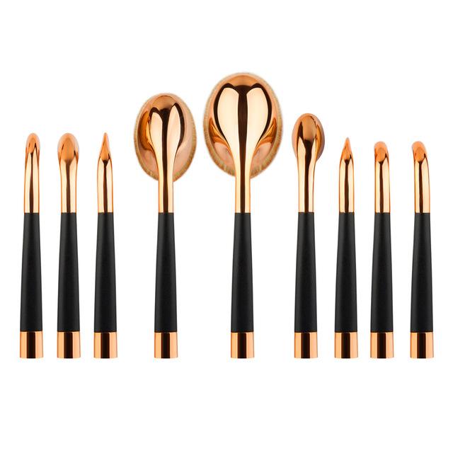Nuevo 9 unids/set Golf de Cepillo Del Maquillaje Fundación Componen Cepillos Kit de Oro Oval Forma del Diente Herramientas de Belleza de Alta Calidad Con la Caja