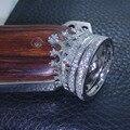Victoria Wieck mulheres Crown set Jóias Hot lady 925 Sterling Silver simulado diamante Conjunto Do Anel de Casamento Sz 5-10