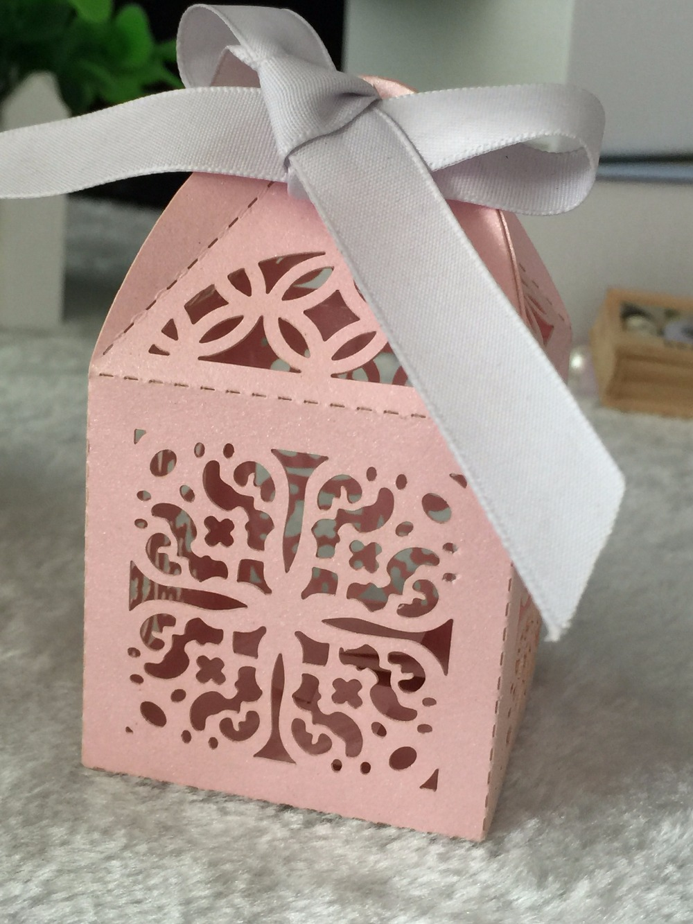100pcs freeshipping Pink Candy Box with ribbon,Laser Cut Wedding ...