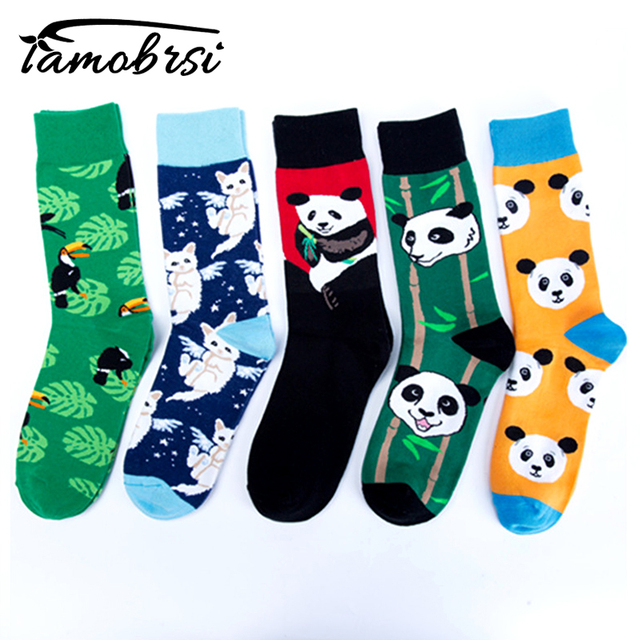 Crew Cool Cat Panda Bamboo Animal  Premium Men Women Crazy Socks Happy Short Male Cotton Pop Crazy Female Winter Warm Socks
