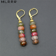 Vintage Classic Natural Stone Jewelry Simple Fashion Cute 5*8 mm Tourmalines Pendant Drop Earrings for Women