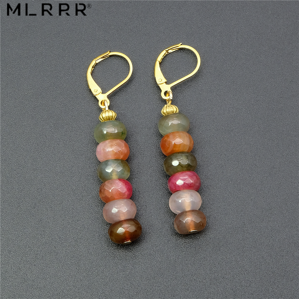 Vintage Classic Natural Stone Smycken Simple Fashion Söt 5 * 8 mm Tourmalines Hänge Drop Earrings för kvinnor