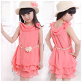 2015 Children's Clothing Girls Chiffon Princess Dress With Belt Baby Girls Layered Cake Dress Watermelon Red Kids Summer Dress