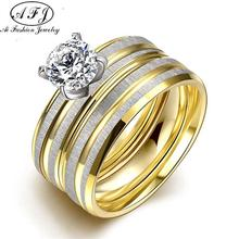 Fashion Titanium Steel Ring Women Jewelry Accessory Finger Ring Romantic Wedding Engagement Couple Ring Lovers Combination Ring