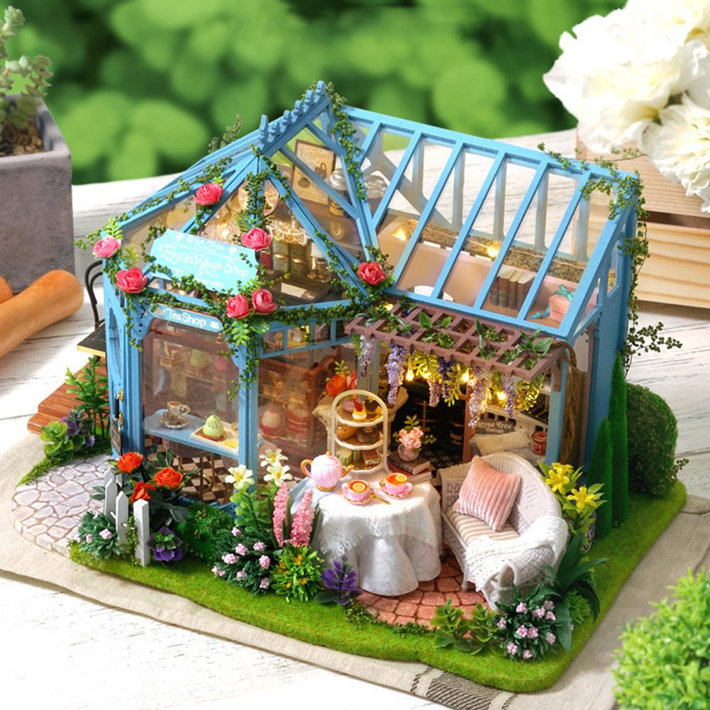 Bricolage conte de fées cabane Rose jardin maison de thé à la main Construction jouets pour enfants modèle en bois Villa créative fille cadeau
