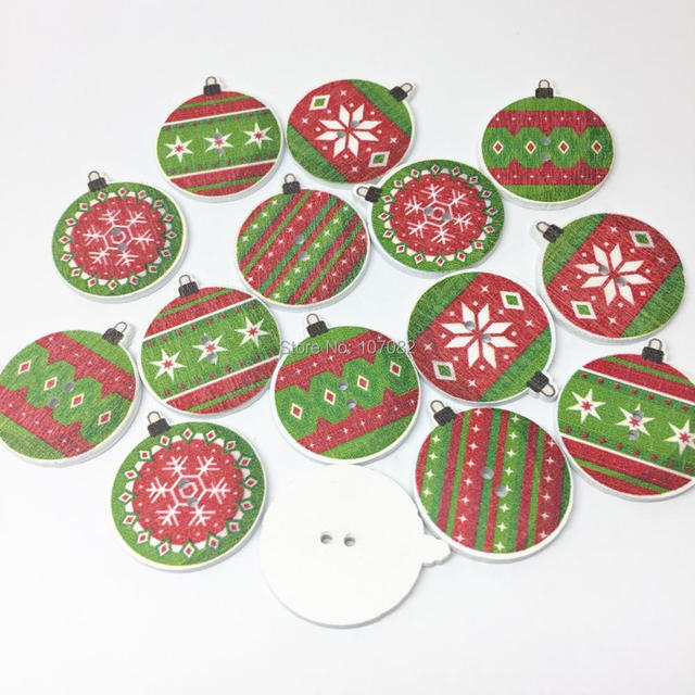 1000pcs green red wood christmas buttons baubles pompon sewing 2 holes xmas button 25mm embellishments