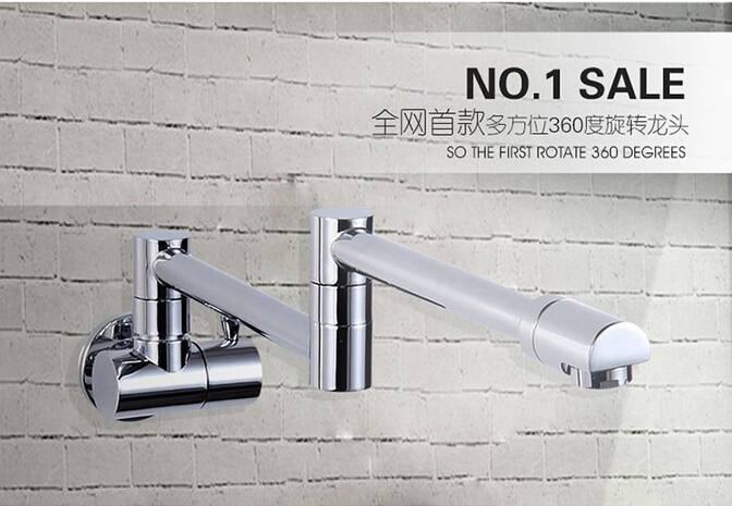 High quality chrome finished brass wall mounted water kitchen faucet with foldable long rotate pipe