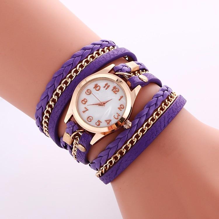 Мода г. женское платье Плетеный ремешок для часов, с заклепками, из кожи, красочные Винтаж браслет наручные часы, кварцевые часы 100 шт./лот
