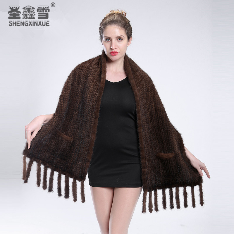 2019 Winter new mink scarf fur shawl mink woven collar jacket women warm fur free shipping
