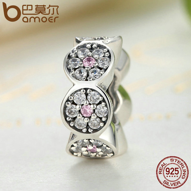 Sterling Silver Clearly CZ Pink Silver Spacers Charm