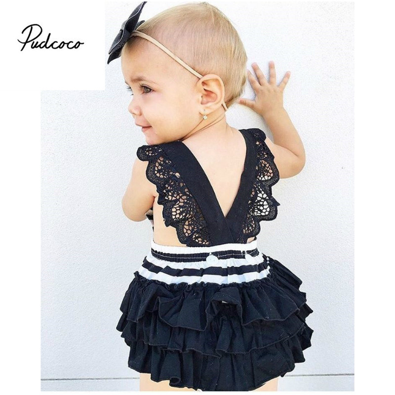 2017 Newborn Cute Stripe Cotton Baby Girl   Rompers   Infant Lace   Romper  +Bow-Knot Headband Children Clothes Sets Toddler Jumpsuit