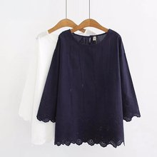 Plus size casual O-Neck women tee shirt Embroidered cotton women summer t-