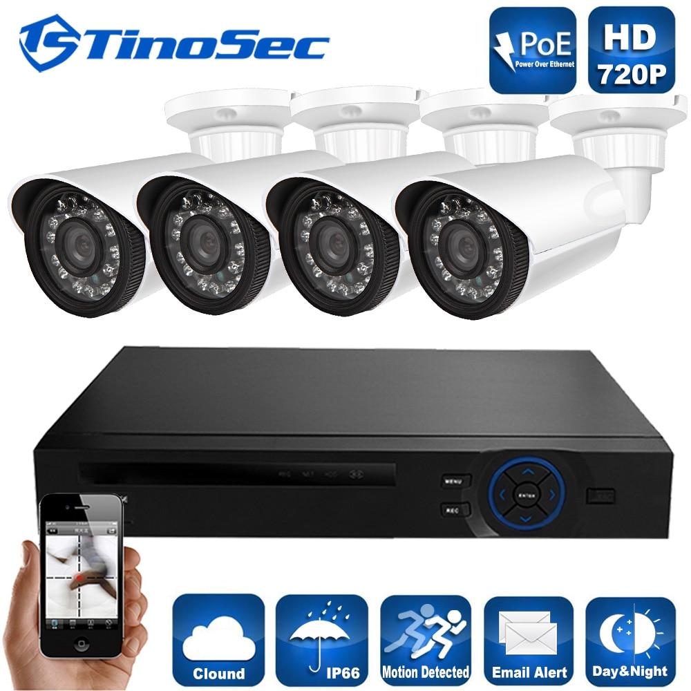 TinoSec 4CH 720P POE 15V NVR Kit HI3518E OV9712 1 0MP POE IP camera IR IP66