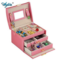 New Fashion Elegant Women Leather Sector Automatic Gift Jewelry Box Display Storage Organizer Carrying Case Casket