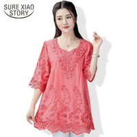 2017 Summer New Retro Chinese Wind Embroidery Women Blouse Hollow Out Round Neck Plus Size Art