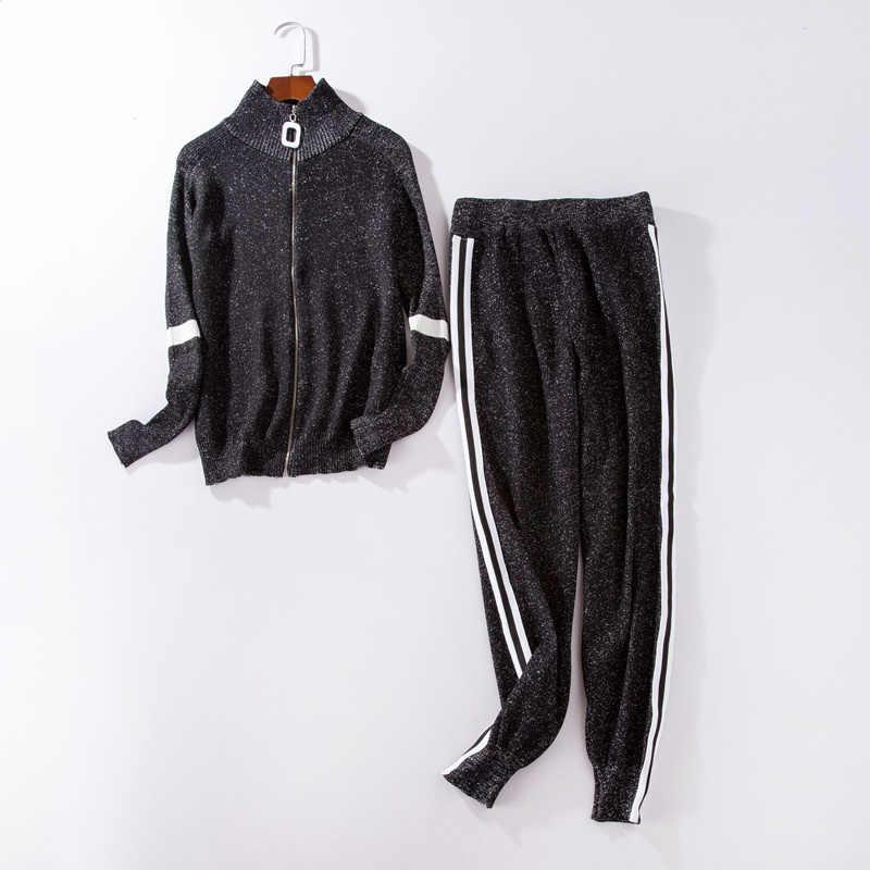 ... Women Tracksuit 2018 Autumn Casual Turtleneck Knit Sportwear Long  Sleeve 2 Piece Pants Sets Stripe Knitting b237dc881