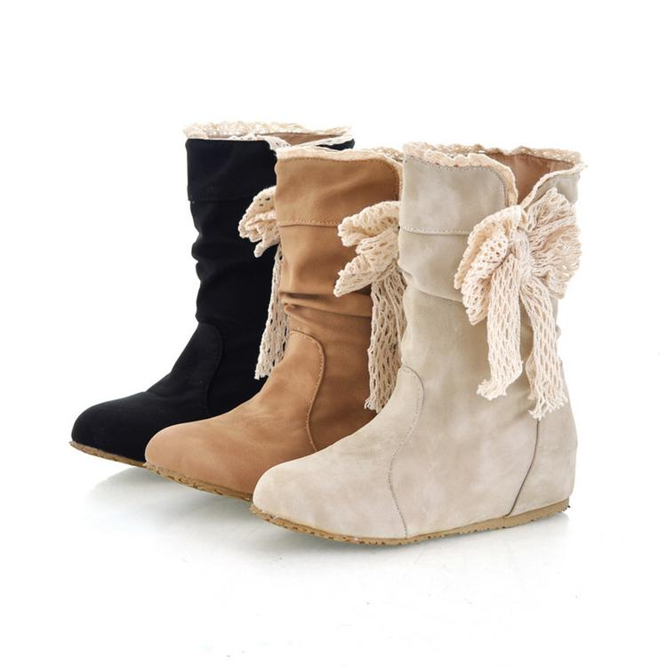 56397e272752 Sweet juniors knitted bow round toe soft PU elevator flat wide mouth boots  plus size