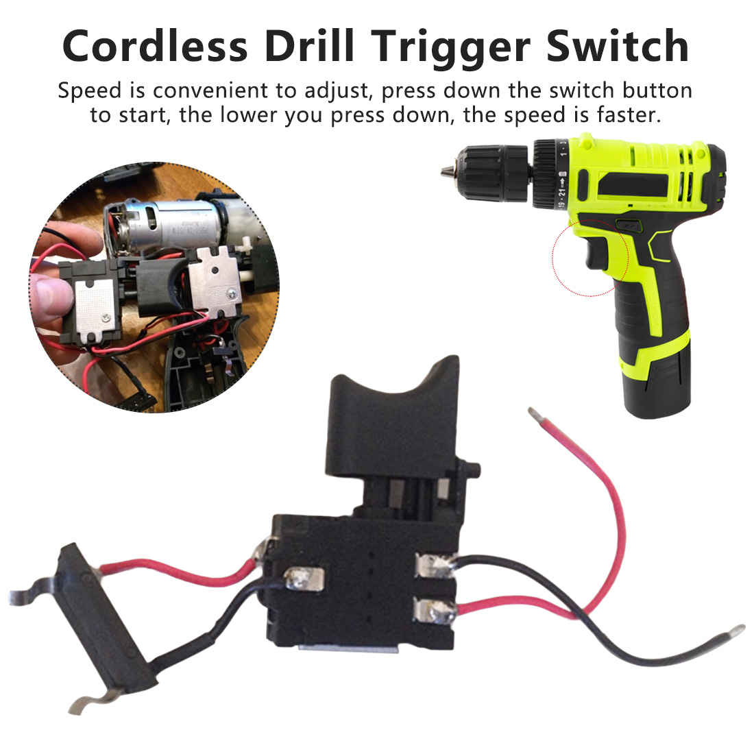 DC 16A 7.2V-24V Electric Drill Dustproof Speed Control Push Button Trigger Switch