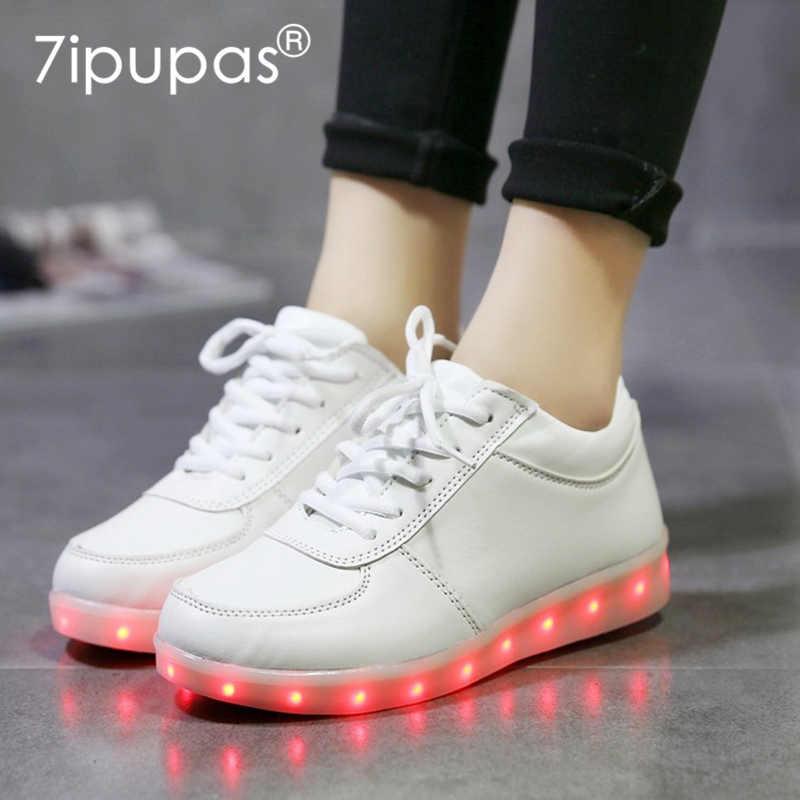 7 ipapas 2018 clásico zapato brillante informal para niños zapatillas luminosas de carga usb blanco y negro b-boying luz arriba niño niña LED zapato 25-44