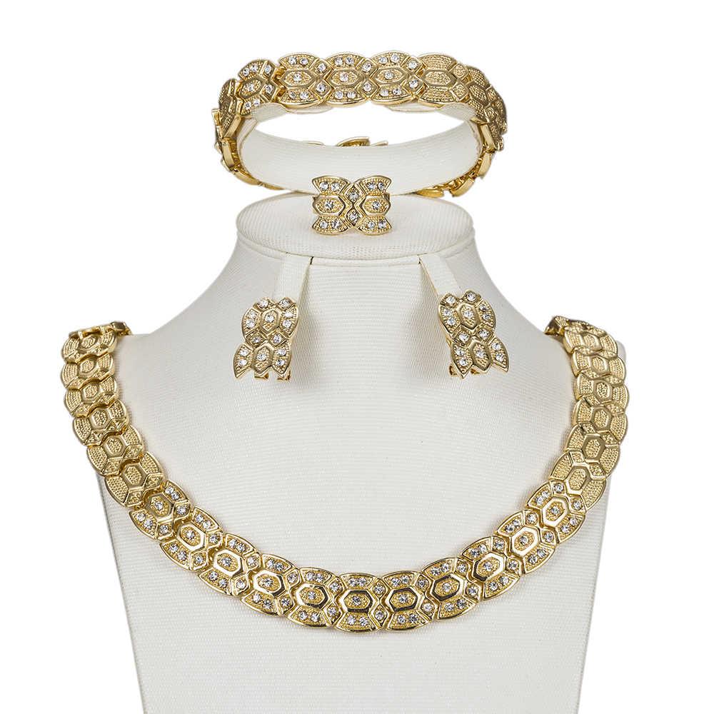 MUKUN Mode afrikanische perlen schmuck-set kristall ohrringe halskette set für Frauen dubai Gold Farbe schmuck für Großhandel kunden