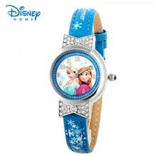 100% Véritable Disney Frozen enfants montre Filles princesse de mode casual quartz ronde montres Hot Kid De Noël De Noël Cadeau de Fête