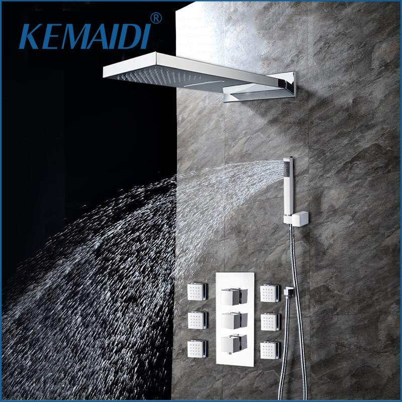 KEMAIDI Modern Rainfall Shower Head Luxury Wall Mounted Square Style Brass Waterfall Shower Set New Bathroom Shower With Handle good quality wall mounted square style brass waterfall shower set new bathroom shower with handle rainfall shower head