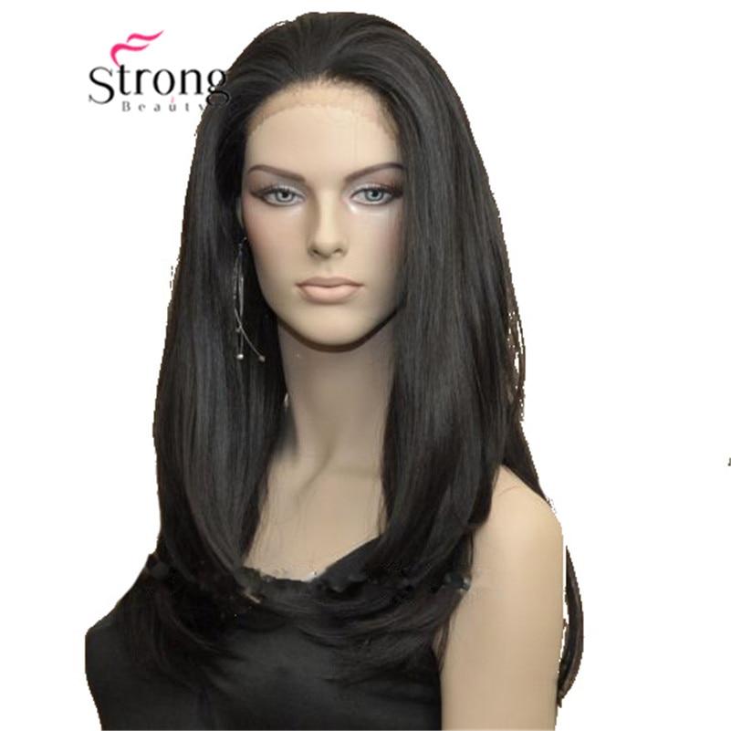 Perruque avant en dentelle large Striaght noir haute chaleur perruques synthétiques complètes cheveux avant en dentelle