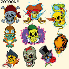 ZOTOONE Skull Patch Iron on Punk Motorcycle Snake DIY T-shirt Sweater Thermal Transfer Paper Stickers Patches for Clothing