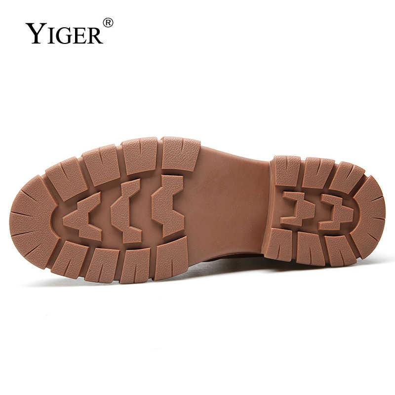 YIGER nouveaux hommes bottes Chelsea hiver bottines en cuir véritable sans lacet homme désert bottes en peluche fourrure chaude hommes martins chaussures 0202a