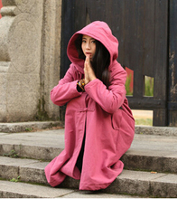 Retro Vintage  2016 Autumn and Winter  Linen outerwear  pink  Oversized wizard Trench With two  plate button  R84