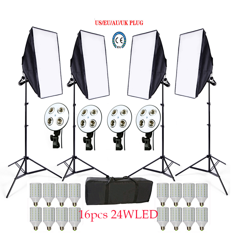 Photo Studio Softbox kit 4 lumière stand 4 lumière titulaire 4 softbox 1 pc sac de transport 16 PCS 24 W E27 LED vidéo éclairage kit soft box