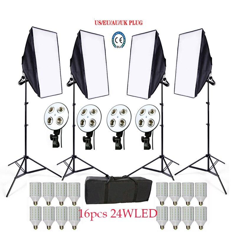 Photo Studio Softbox kit 4 lumière stand 4 lumière titulaire 4 softbox 1 pc sac de transport 16 PCS 24 W E27 LED vidéo éclairage kit soft box