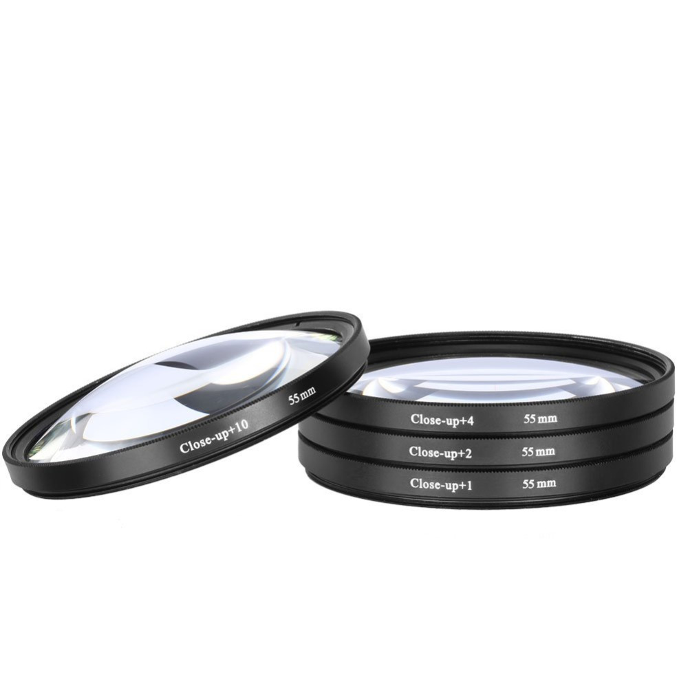 JUST NOW High-Profession Close Up Macro Lens Kit (+1 / +2 / +4 / +10) Diopter Filters Set for DSRL camera - Black (55mm)