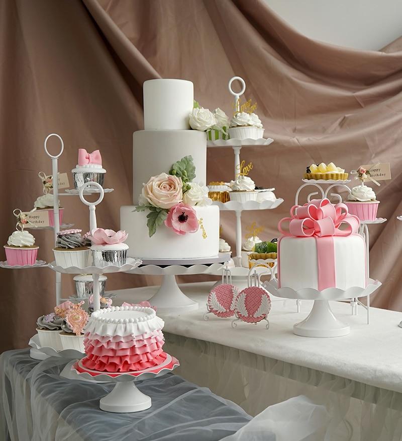 White Metal Cake Plates Sets Wedding Party Dessert Table Decoration Cupcake Bread Food Display Tray Macaron Cakes Plates Aliexpress