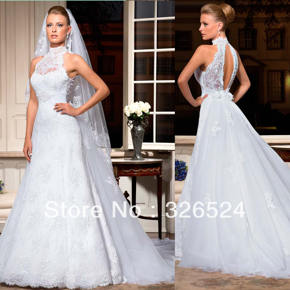 Wedding Gown With Neck Detail: Aliexpress.com : Buy New Arrival Lace Wedding Dress High