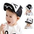 2016 New Baby Hat Beard Ears Cartoon Black White Kids Baseball Hat Soft Spring Boy Sun Hats Summer Cotton Mesh Caps Girls Visors