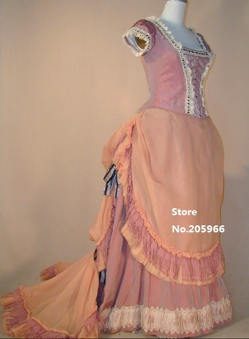 Free Shipping 1800s Era Nobility Sweet Princess Deluxe Pink Shot Sleeves Bustle Victorian Day Dress/Stage Costume