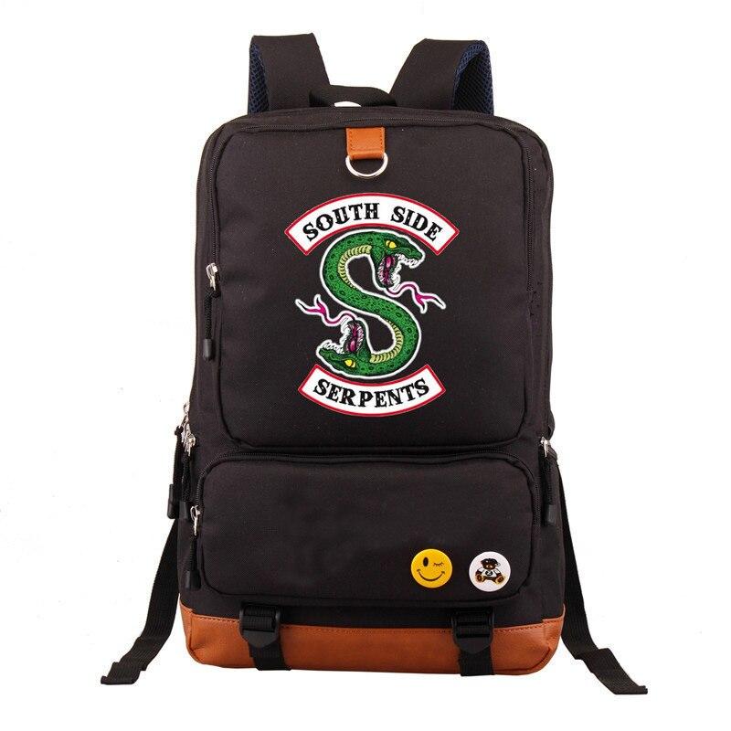Newest Riverdale South Side Serpents Backpack Men Women Casual Laptop Bags Shoulder Travel School Bag Bookbag For Teenagers zelda laptop backpack bags cosplay link hyrule anime casual backpack teenagers men women s student school bags travel bag