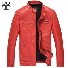 Tang eight Winter Red Leather Jacket Mens males's biker Fur Sheepskin Genuine leather-based jacket bike embroidered jacket coat