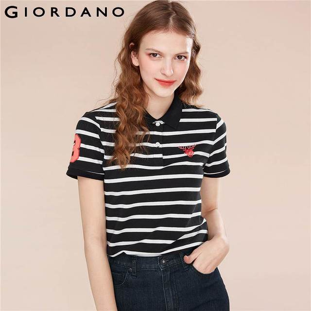 1b0d7ce80e Giordano Women Polo Shirt Women Embroidery Deer Stretchy Short Sleeve Polo  Women Cotton Spandex Causal Embroidered Polos Mujer