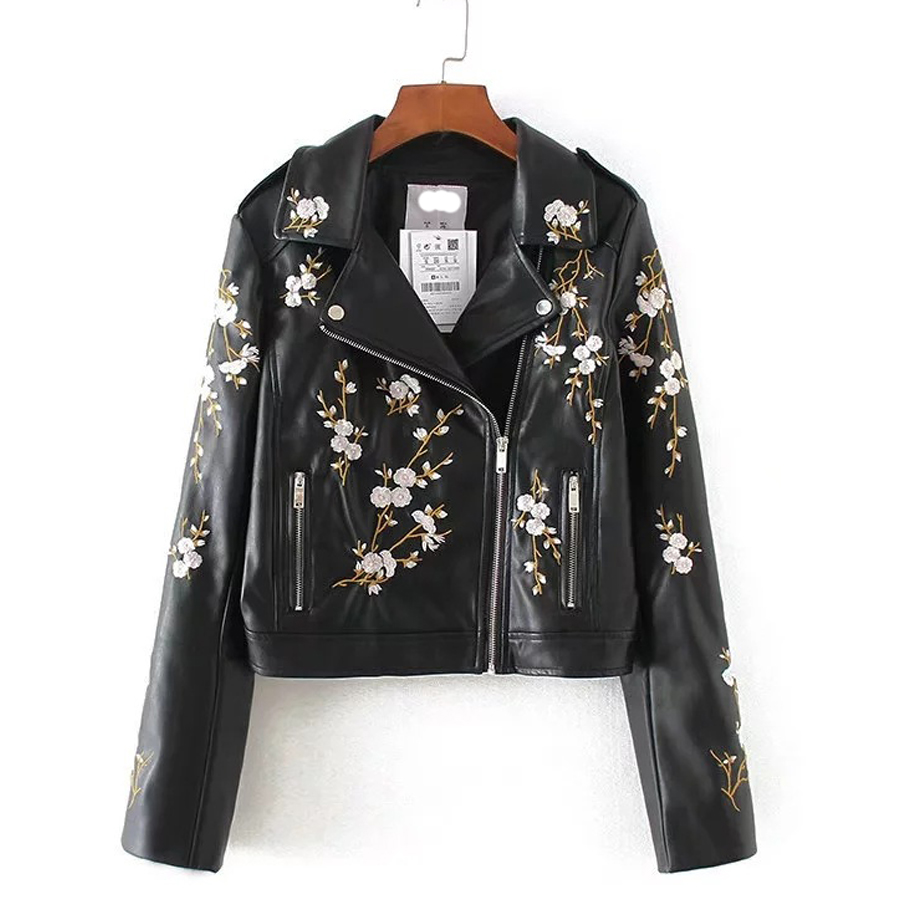 Women Pu Leather Jacket Black Floral Embroidery Outwear Female Motorcycle  Jackets Autumn Winter Punk Faux Leather