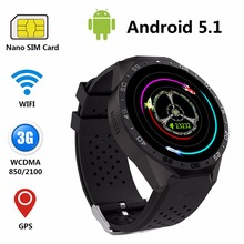 KW88 Bluetooth 4.0 WIFI GPS Smartwatch 3G Nano SIM WCDMA support heart rating anti-theft Camera High resolution New wristwatch