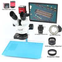 Simul Focal Trinocular Stereo Microscope 3.5X 7X 90X+13MP 720P HDMI VGA Video Camera LCD Display For Fix Repair Phone Soldering